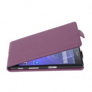 Cadorabo Hülle für Sony Xperia X - Hülle in BORDEAUX LILA ? Handyhülle aus strukturiertem Kunstleder im Flip Design - Case Cover Schutzhülle Etui Tasche
