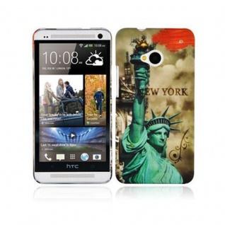 Cadorabo Hülle für HTC ONE M7 (1.Gen.) - Hülle im Design NEW YORK - FREIHEITSSTATUE ? Hardcase Handyhülle mit Aufdruck - Schutzhülle Bumper Back Case Cover