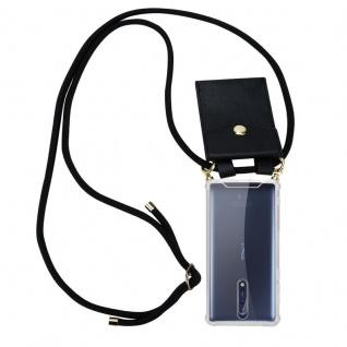 Cadorabo Handy Kette für Nokia 8 2017 in SCHWARZ ? Silikon Necklace Umhänge Hülle mit Gold Ringen, Kordel Band Schnur und abnehmbarem Etui ? Schutzhülle