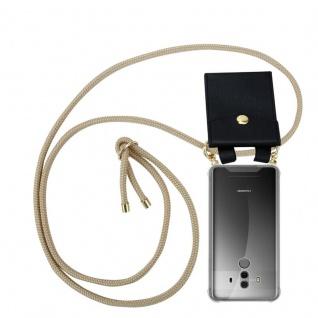 Cadorabo Handy Kette für Huawei MATE 10 PRO in GLÄNZEND BRAUN - Silikon Necklace Umhänge Hülle mit Gold Ringen, Kordel Band Schnur und abnehmbarem Etui ? Schutzhülle