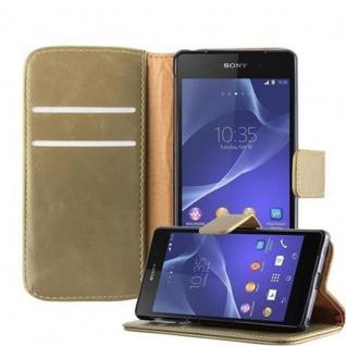 Cadorabo Hülle für Sony Xperia Z2 in CAPPUCINO BRAUN - Handyhülle mit Magnetverschluss, Standfunktion und Kartenfach - Case Cover Schutzhülle Etui Tasche Book Klapp Style