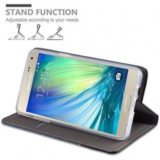 Cadorabo Hülle für Samsung Galaxy A3 2015 in DUNKEL BLAU SCHWARZ - Handyhülle mit Magnetverschluss, Standfunktion und Kartenfach - Case Cover Schutzhülle Etui Tasche Book Klapp Style - Vorschau 4
