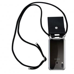 Cadorabo Handy Kette für Samsung Galaxy A20e in SCHWARZ Silikon Necklace Umhänge Hülle mit Silber Ringen, Kordel Band Schnur und abnehmbarem Etui Schutzhülle