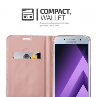 Cadorabo Hülle für Samsung Galaxy A3 2017 in CLASSY ROSÉ GOLD - Handyhülle mit Magnetverschluss, Standfunktion und Kartenfach - Case Cover Schutzhülle Etui Tasche Book Klapp Style - Vorschau 3