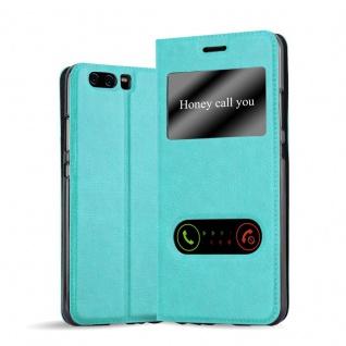 Cadorabo Hülle für Huawei P10 PLUS in MINT TÜRKIS - Handyhülle mit Magnetverschluss, Standfunktion und 2 Sichtfenstern - Case Cover Schutzhülle Etui Tasche Book Klapp Style