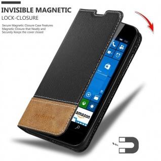 Cadorabo Hülle für Nokia Lumia 550 in SCHWARZ BRAUN ? Handyhülle mit Magnetverschluss, Standfunktion und Kartenfach ? Case Cover Schutzhülle Etui Tasche Book Klapp Style - Vorschau 2