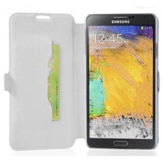 Cadorabo Hülle für Samsung Galaxy NOTE 3 - Hülle in ICY WEIß ? Handyhülle mit Standfunktion und Kartenfach im Ultra Slim Design - Case Cover Schutzhülle Etui Tasche Book