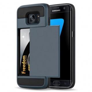 Cadorabo Hülle für Samsung Galaxy S7 EDGE - Hülle in TRESOR NAVY BLAU - Handyhülle mit verstecktem Kartenfach - Hard Case TPU Silikon Schutzhülle für Hybrid Cover