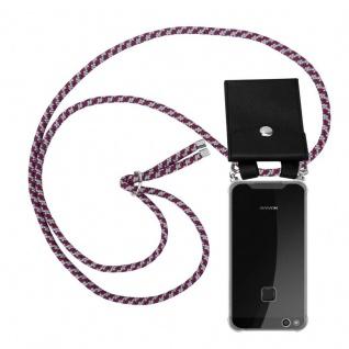 Cadorabo Handy Kette für Huawei P10 in ROT WEISS - Silikon Necklace Umhänge Hülle mit Silber Ringen, Kordel Band Schnur und abnehmbarem Etui - Schutzhülle