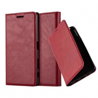 Cadorabo Hülle für Sony Xperia X Performance in APFEL ROT - Handyhülle mit Magnetverschluss, Standfunktion und Kartenfach - Case Cover Schutzhülle Etui Tasche Book Klapp Style