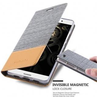 Cadorabo Hülle für Huawei P8 LITE 2015 in HELL GRAU BRAUN - Handyhülle mit Magnetverschluss, Standfunktion und Kartenfach - Case Cover Schutzhülle Etui Tasche Book Klapp Style