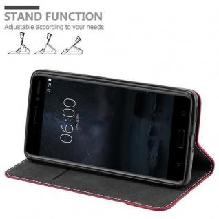 Cadorabo Hülle für Nokia 6 2017 in ROT SCHWARZ ? Handyhülle mit Magnetverschluss, Standfunktion und Kartenfach ? Case Cover Schutzhülle Etui Tasche Book Klapp Style - Vorschau 3