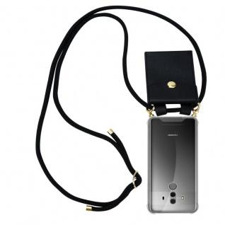 Cadorabo Handy Kette für Huawei MATE 10 PRO in SCHWARZ - Silikon Necklace Umhänge Hülle mit Gold Ringen, Kordel Band Schnur und abnehmbarem Etui ? Schutzhülle