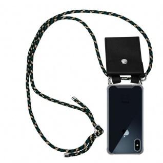 Cadorabo Handy Kette für Apple iPhone X / XS in CAMOUFLAGE - Silikon Necklace Umhänge Hülle mit Silber Ringen, Kordel Band Schnur und abnehmbarem Etui - Schutzhülle