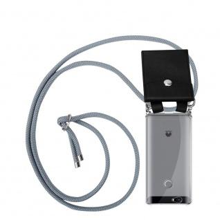 Cadorabo Handy Kette für Huawei NOVA in SILBER GRAU Silikon Necklace Umhänge Hülle mit Silber Ringen, Kordel Band Schnur und abnehmbarem Etui Schutzhülle