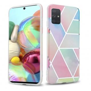 Cadorabo Hülle für Samsung Galaxy A71 4G Hülle in Regenbogen Marmor No.11 Handyhülle aus TPU Silikon mit Muster Mosaik Silikonhülle Schutzhülle Ultra Slim Back Cover Case Bumper