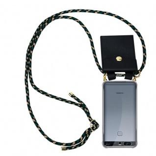 Cadorabo Handy Kette für Huawei P9 PLUS in CAMOUFLAGE Silikon Necklace Umhänge Hülle mit Gold Ringen, Kordel Band Schnur und abnehmbarem Etui Schutzhülle