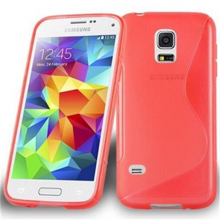 Cadorabo Hülle für Samsung Galaxy S5 MINI / S5 MINI DUOS in INFERNO ROT ? Handyhülle aus flexiblem TPU Silikon ? Silikonhülle Schutzhülle Ultra Slim Soft Back Cover Case Bumper
