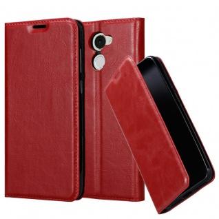 Cadorabo Hülle für Huawei Enjoy 7 PLUS in APFEL ROT - Handyhülle mit Magnetverschluss, Standfunktion und Kartenfach - Case Cover Schutzhülle Etui Tasche Book Klapp Style