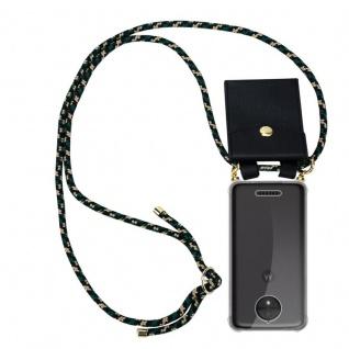 Cadorabo Handy Kette für Motorola MOTO C PLUS in CAMOUFLAGE Silikon Necklace Umhänge Hülle mit Gold Ringen, Kordel Band Schnur und abnehmbarem Etui Schutzhülle