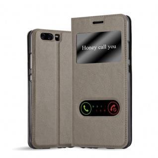 Cadorabo Hülle für Huawei P10 PLUS in STEIN BRAUN - Handyhülle mit Magnetverschluss, Standfunktion und 2 Sichtfenstern - Case Cover Schutzhülle Etui Tasche Book Klapp Style