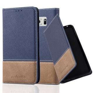 Cadorabo Hülle für Samsung Galaxy S6 EDGE PLUS in BLAU BRAUN ? Handyhülle mit Magnetverschluss, Standfunktion und Kartenfach ? Case Cover Schutzhülle Etui Tasche Book Klapp Style