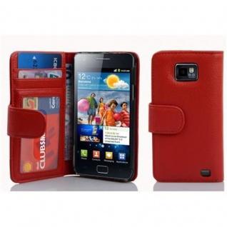 Cadorabo Hülle für Samsung Galaxy S2 / S2 PLUS in INFERNO ROT - Handyhülle mit Magnetverschluss und 3 Kartenfächern - Case Cover Schutzhülle Etui Tasche Book Klapp Style