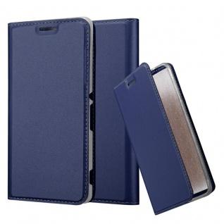 Cadorabo Hülle für Sony Xperia M4 Aqua in CLASSY DUNKEL BLAU - Handyhülle mit Magnetverschluss, Standfunktion und Kartenfach - Case Cover Schutzhülle Etui Tasche Book Klapp Style