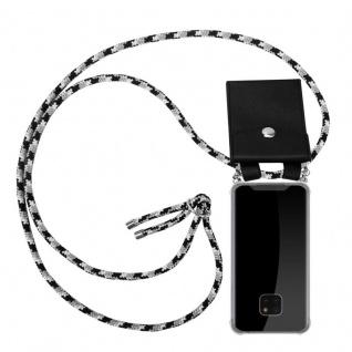 Cadorabo Handy Kette für Huawei MATE 20 PRO in SCHWARZ CAMOUFLAGE - Silikon Necklace Umhänge Hülle mit Silber Ringen, Kordel Band Schnur und abnehmbarem Etui - Schutzhülle