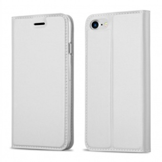 Cadorabo Hülle für Apple iPhone 8 / iPhone 7 / iPhone 7S in CLASSY SILBER - Handyhülle mit Magnetverschluss, Standfunktion und Kartenfach - Case Cover Schutzhülle Etui Tasche Book Klapp Style