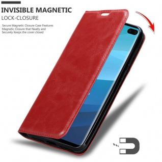 Cadorabo Hülle für Samsung Galaxy S10 PLUS in APFEL ROT - Handyhülle mit Magnetverschluss, Standfunktion und Kartenfach - Case Cover Schutzhülle Etui Tasche Book Klapp Style - Vorschau 3