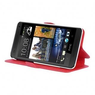 Cadorabo Hülle für HTC ONE MINI M4 (1.Gen.) - Hülle in ICY ROT - Handyhülle mit Standfunktion und Kartenfach im Ultra Slim Design - Case Cover Schutzhülle Etui Tasche Book