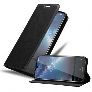 Cadorabo Hülle für Nokia 2.2 in NACHT SCHWARZ - Handyhülle mit Magnetverschluss, Standfunktion und Kartenfach - Case Cover Schutzhülle Etui Tasche Book Klapp Style