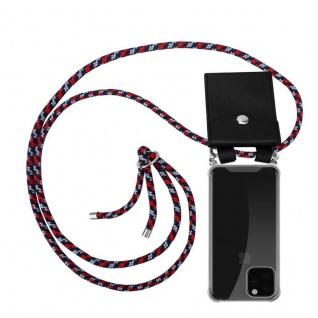 Cadorabo Handy Kette für Apple iPhone 11 PRO MAX (XI PRO MAX) in ROT BLAU WEISS - Silikon Necklace Umhänge Hülle mit Silber Ringen, Kordel Band Schnur und abnehmbarem Etui - Schutzhülle