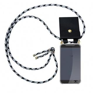 Cadorabo Handy Kette für Apple iPhone 5 / 5S / SE in SCHWARZ CAMOUFLAGE - Silikon Necklace Umhänge Hülle mit Gold Ringen, Kordel Band Schnur und abnehmbarem Etui ? Schutzhülle