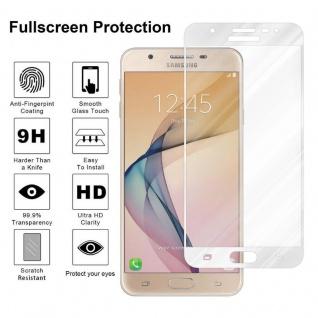 Cadorabo Vollbild Panzer Folie für Samsung Galaxy J5 PRIME / ON5 2016 - Schutzfolie in TRANSPARENT mit WEISS - Gehärtetes (Tempered) Display-Schutzglas in 9H Härte mit 3D Touch Kompatibilität - Vorschau 4