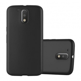 Cadorabo Hülle für Motorola MOTO G4 / G4 PLUS in METALLIC SCHWARZ - Handyhülle aus flexiblem TPU Silikon - Silikonhülle Schutzhülle Ultra Slim Soft Back Cover Case Bumper