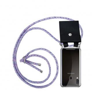 Cadorabo Handy Kette für Samsung Galaxy A20e in UNICORN Silikon Necklace Umhänge Hülle mit Silber Ringen, Kordel Band Schnur und abnehmbarem Etui Schutzhülle