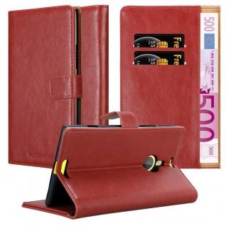 Cadorabo Hülle für Nokia Lumia 1520 in WEIN ROT - Handyhülle mit Magnetverschluss, Standfunktion und Kartenfach - Case Cover Schutzhülle Etui Tasche Book Klapp Style