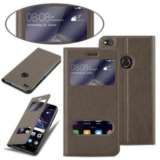 Cadorabo Hülle für Huawei P8 LITE 2017 in STEIN BRAUN - Handyhülle mit Magnetverschluss, Standfunktion und 2 Sichtfenstern - Case Cover Schutzhülle Etui Tasche Book Klapp Style - Vorschau 4