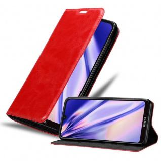 Cadorabo Hülle für Honor 8s in APFEL ROT Handyhülle mit Magnetverschluss, Standfunktion und Kartenfach Case Cover Schutzhülle Etui Tasche Book Klapp Style