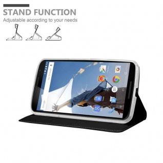 Cadorabo Hülle für Motorola NEXUS 6 in CLASSY SCHWARZ - Handyhülle mit Magnetverschluss, Standfunktion und Kartenfach - Case Cover Schutzhülle Etui Tasche Book Klapp Style - Vorschau 4