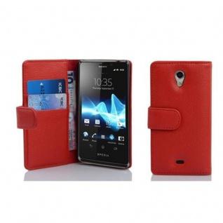 Cadorabo Hülle für Sony Xperia T in INFERNO ROT - Handyhülle aus strukturiertem Kunstleder mit Standfunktion und Kartenfach - Case Cover Schutzhülle Etui Tasche Book Klapp Style