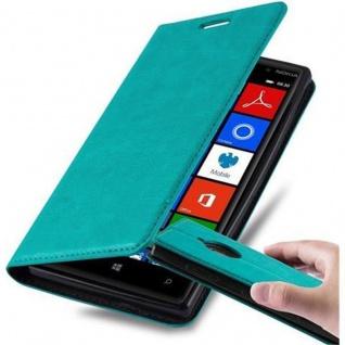 Cadorabo Hülle für Nokia Lumia 830 in PETROL TÜRKIS - Handyhülle mit Magnetverschluss, Standfunktion und Kartenfach - Case Cover Schutzhülle Etui Tasche Book Klapp Style