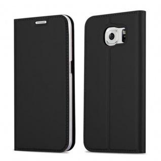 Cadorabo Hülle für Samsung Galaxy S6 in CLASSY SCHWARZ - Handyhülle mit Magnetverschluss, Standfunktion und Kartenfach - Case Cover Schutzhülle Etui Tasche Book Klapp Style