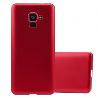 Cadorabo Hülle für Samsung Galaxy A8 2018 in METALLIC ROT - Handyhülle aus flexiblem TPU Silikon - Silikonhülle Schutzhülle Ultra Slim Soft Back Cover Case Bumper