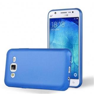 Cadorabo Hülle für Samsung Galaxy J5 2015 in METALLIC BLAU - Handyhülle aus flexiblem TPU Silikon - Silikonhülle Schutzhülle Ultra Slim Soft Back Cover Case Bumper