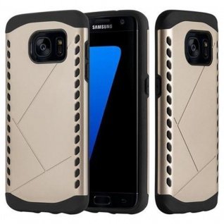 Cadorabo Hülle für Samsung Galaxy S7 EDGE - Hülle in GUARDIAN GOLD ? Hard Case TPU Silikon Schutzhülle für Hybrid Cover im Outdoor Heavy Duty Design
