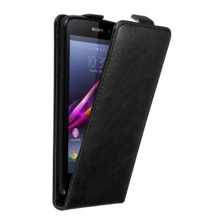 Cadorabo Hülle für Sony Xperia Z1 in NACHT SCHWARZ - Handyhülle im Flip Design mit unsichtbarem Magnetverschluss - Case Cover Schutzhülle Etui Tasche Book Klapp Style