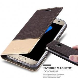 Cadorabo Hülle für Samsung Galaxy S7 in ANTRAZIT GOLD - Handyhülle mit Magnetverschluss, Standfunktion und Kartenfach - Case Cover Schutzhülle Etui Tasche Book Klapp Style